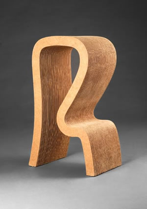 """Easy Edges"" Line Designed by Frank Gehry Manufactured by Easy Edges, Inc. High Stool, 1971 Photo by Michael Koryta"