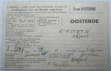 Merseyside Maritime Museum Displays Albert Einstein Landing Card