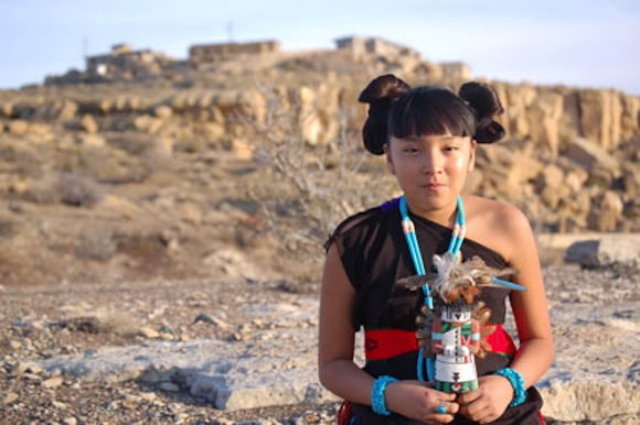 Kaylen Sue Lomayestewa  Hopi  with Katsina  Photo by Susan Secakuku Hopi People Food