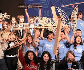 Museum of Flight Scene of Popsicle Stick Bridge Contest and Engineering Fair Feb. 9