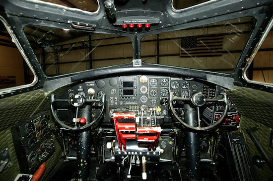 Cockpit of the Museum of Flight's World War II B-17F bomber. The Museum of Flight.