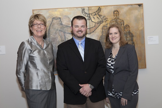 From left, Michener Director & CEO Lisa Tremper Hanover and Exhibitions Manager Sean Wells greet Marlene Harrison, Director of Exhibitions, International Arts & Artists, to the Michener's installation of  Infinite Mirror: Images of American Identity.