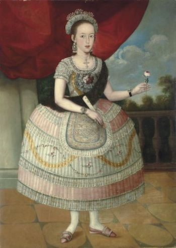 Unknown (Lima School), Portrait of a Young Woman , ca. late 18th century, Oil on canvas, 54 3/4'' x 39 1/4'', Museum purchase, Funded by Wellesley College Friends of Art, 2011.17