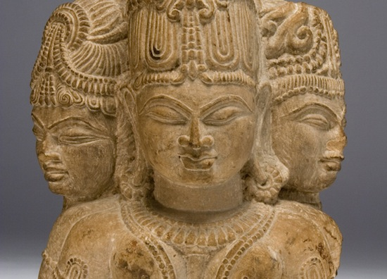 Three Female Heads, India, fifteenth to sixteenth centuries, red sandstone, 14 ¼ x 9 x 9 inches, Lora Robins Gallery of Design from Nature, University of Richmond Museums, Museum Purchase, R2006.14.01