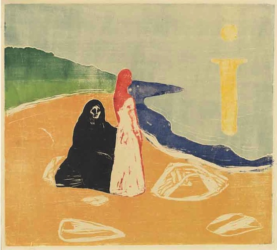 Edvard Munch, Two Women on the Shore, 1898 (printed c. 1917 or later). Color woodcut. Image: 45.7 x 50.5 cm (18 x 19 7/8 in.)sheet: 54 x 59.6 cm (21 1/4 x 23 7/16 in.) National Gallery of Art, Washington, Print Purchase Fund (Rosenwald Collection) and Ailsa Mellon Bruce Fund© Munch Museum/Munch Ellingsen Group/ARS, NY 2013.