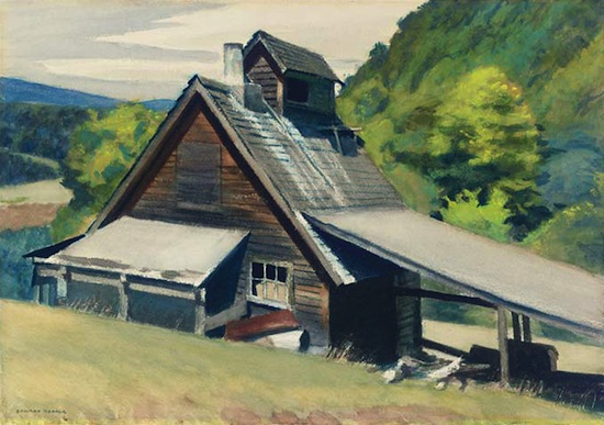 Edward Hopper, Vermont Sugar House, 1938, watercolor on paper, 14 × 20 inches. Collection of Louis Bacon.