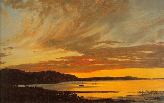 Frederic E. Church, Sunset, Bar Harbor, detail, c. September 1854, oil on paper mounted on canvas, 10 1/8 x 17 ¼ in., OL.1981.72. Collection of Olana State Historic Site.