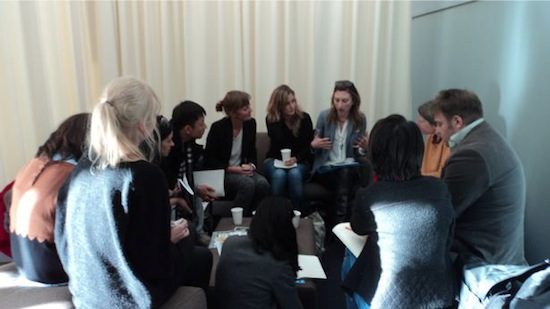 Participants of the Gallerist Programme in a workshop with Andrea Phillips at Frieze 2012.