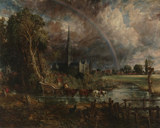 John Constable, Salisbury Cathedral from the Meadows, exhibited 1831. Oil on canvas, 151.8 x 189.9 mm. Purchased by Tate with assistance from the National Lottery through the Heritage Lottery Fund, the Manton Foundation the Art Fund and Tate Members in partnership with Amgueddfa Cymru-National Museum Wales, Colchester and Ipswich Museum Service, National Galleries of Scotland; and Salisbury and South Wiltshire Museum. 2013.