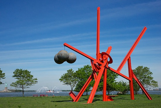Mark di Suvero, Figolu, 2005–11; painted steel, steel buoys; 47 x 55 x 23 feet; installation view of Mark di Suvero at Governors Island: Presented by Storm King Art Center; Collection of the artist; photo: Jerry L. Thompson; © Mark di Suvero