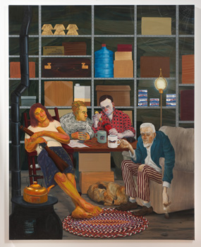 Nicole Eisenman, Tea Party, 2011. Oil on canvas, 82 x 65 inches. Hort Family Collection. Courtesy of Susanne Vielmetter Los Angeles Projects. Photo: Robert Wedemeyer.