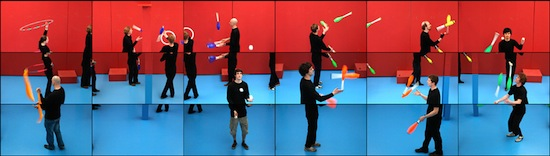 David Hockney (b. 1937), still from The Jugglers, June 24th 2012, 2012. Eighteen-screen video installation, color, sound; 9 min. © David Hockney. Image courtesy Hockney Pictures and Pace Gallery
