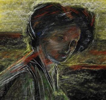 Umberto Boccioni, 1(882 – 1916), Untitled Portrait, c.1909. Pastel on paper. Gift of Larry and Marita Jacobs.