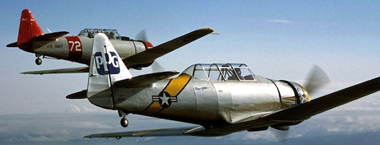 AT-6 Texans in flight. Photo courtesy Experimental Aircraft Association Cascade Warbirds.