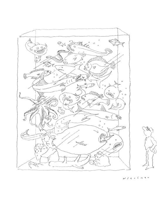R.O. Blechman, The Aquarium, pen and ink, 2009
