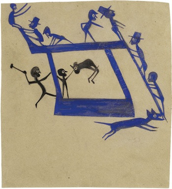 "Bill Traylor (c. 1854–1949) Untitled (Figures, Construction), c. 1940–1942. Poster paint and graphite on cardboard, 12 5/8 x 11 5/8"". Montgomery Museum of Fine Arts, Montgomery, Alabama, gift of Charles and Eugenia Shannon, 1982.4.16. Photo: Lyle Peterzell."