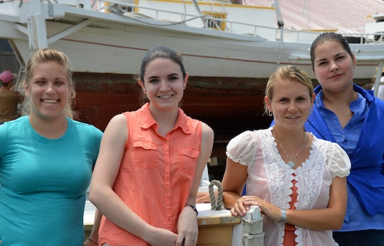 From the left: New Chesapeake Bay Maritime Museum (CBMM) summer interns Veronica Lathroum, Allison Speight, Lauren Murray, and Martina Soares Knize.