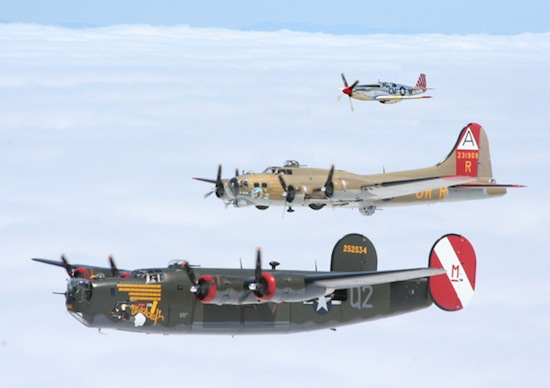 The Collings Foundation B-24, B-17 and P-51 (bottom to top). Photo Collings Foundation.