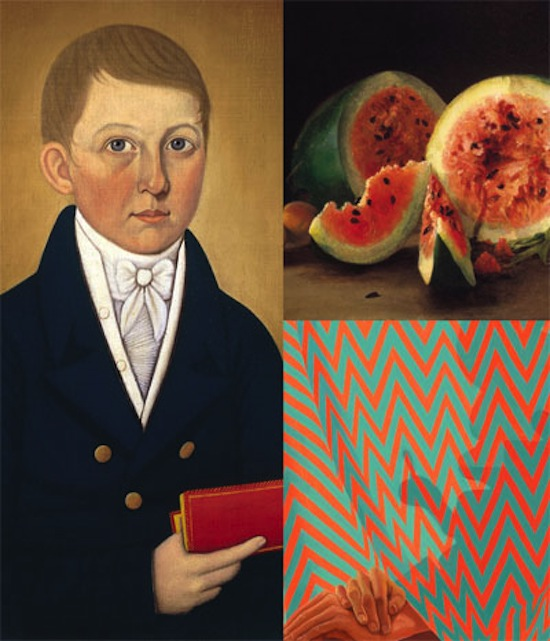 John Brewster, Jr., Boy Holding a Book, c.1810, Florence Griswold Museum William Wheeler, Still Life with Watermelon, 1865, Florence Griswold Museum Sascha Braunig, Strange Maine, 2012, Oil on Canvas, 30 in. x 22 in. Collection of Niva Grill Angel, New York. Image courtesy of the artist and Foxy Production, New York