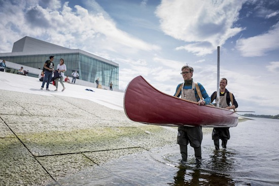 Futurefarmers embark their mobile oven on Oslo Opera House, June 2013. Photo: Max McClure.