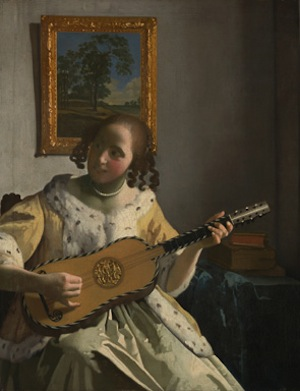 Johannes Vermeer (1632 - 1675), The Guitar Player, about 1672. Oil on canvas, 53 x 46.3 cm. On loan from English Heritage, The Iveagh Bequest (Kenwood)© English Heritage.