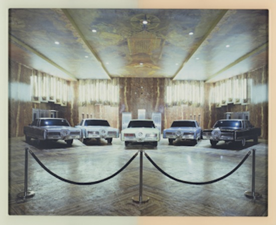 Matthew Barney, CREMASTER 3: 1967 Chrysler Imperial, 2002. Chromogenic print in self-lubricating plastic frame, Overall: 43 1/4 x 53 1/2 x 1 1/8 inches (109.9 x 135.9 x 2.9 cm). Whitney Museum of American Art, New York; Promised gift of the Fisher Landau Center for Art P.2010.296a-b. © Matthew Barney. Photo: Tim Nighswander / Imaging4Art.