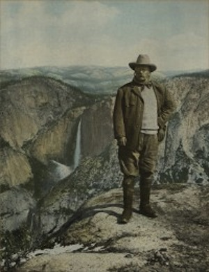 After Underwood & Underwood, American, active 1881-1940s, President Theodore Roosevelt on Glacier Point, Yosemite, 1903, Hand-tinted gelatin silver print, Gift of Bruce and Ludmila Dandrew from The Ludmila Dandrew and Chitranee Drapkin Collection