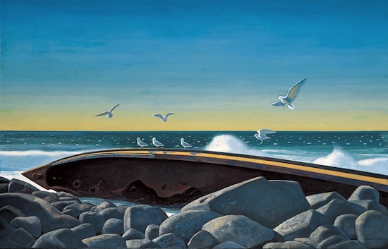 Rockwell Kent (1882-1971), Wreck of the D.T. Sheridan, c. 1949, oil on canvas. Portland Museum of Art, Maine.