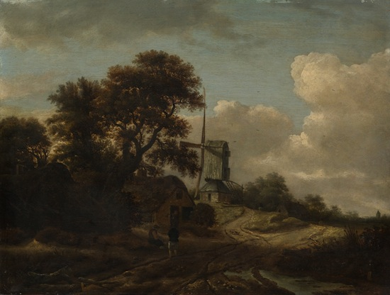 Roelof de Vries, Landscape with Stream and Windmill, unknown date, oil on panel, Collection of the Vancouver Art Gallery, Gift of Mr. and Mrs. J. Jetter in Memory of Dr. Marianne Rose Lourie-Jetter. Photo: Rachel Topham, Vancouver Art Gallery