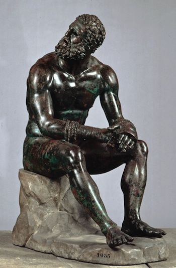 Boxer at Rest, Greek, Hellenistic period, late 4th–2nd century B.C. Bronze with copper inlays, H. 128 cm (50 3/8 in.). Museo Nazionale Romano – Palazzo Massimo alle Terme, Rome, inv. 1055. Lent by the Republic of Italy. Image courtesy Soprintendenza Speciale per i Beni Archeologici di Roma – Museo Nazionale Romano – Palazzo Massimo alle Terme.
