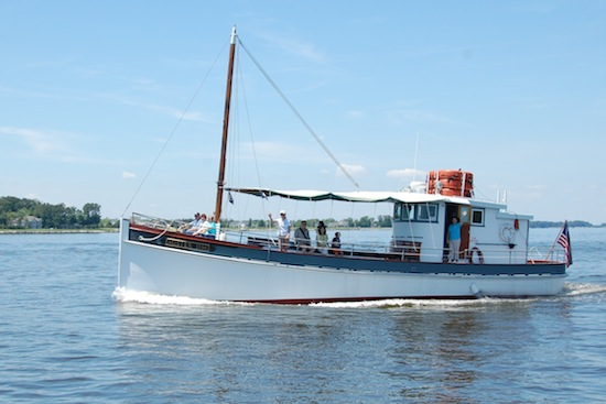 The Chesapeake Bay Maritime Museum is offering a 90-minute narrated cruise aboard the replica buyboat, Mister Jim, shown here