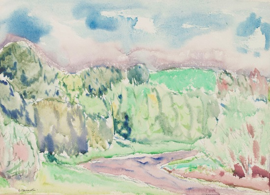 Charles Demuth, Landscape, n.d., watercolor, 9 ½ x 13 ¼ in., The Demuth Museum Collection, Gift of Ann Hill.