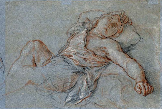 Charles de la Fosse, Sleeping Rinaldo, 1686, Black, red and white chalk on blue laid paper, 10.5 x 14.625 in. Snite Museum of Art at the University of Notre Dame, gift of Mr. John D. Reilly.