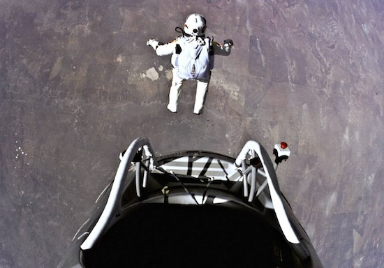 Felix Baumgartner begins his Red Bull Stratus jump from 24 miles above the Earth. Photo copyright Red Bull Media House.