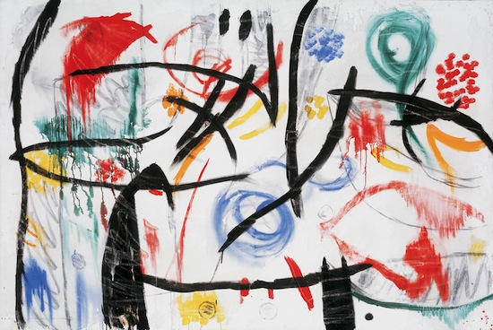 Joan Miró, Sans titre, 1968-1972. huile, acrylique, fusain et craie sur toile, 130,6 x 195,5 cm. Fundació Pilar i Joan Miró, Mallorca. Photo Joan Ramón Bonet & David Bonet / Courtesy Archivo Fundació Pilar i Joan Miró a Mallorca © Successió Miró / 2013, ProLitteris, Zurich.