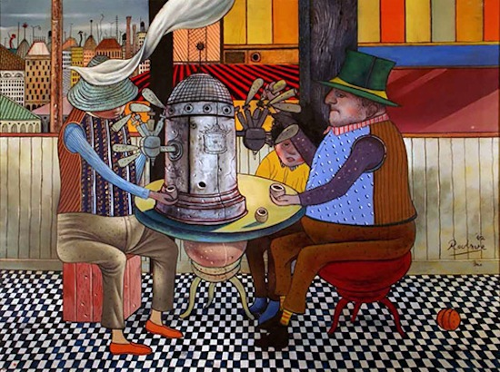 Noel Rockmore Figaro Café, 1962, acrylic on canvas. Collection of Shirley Marvin.