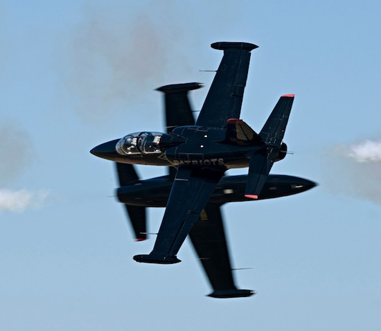 Patriots L-39 jets pass during air show. Credit: cliff George/Patriots Jet Team