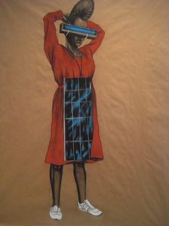 Robert Pruitt, Sun Fired, 2009. Conté crayon on kraft paper, 59 × 49 inches. Courtesy the artist.