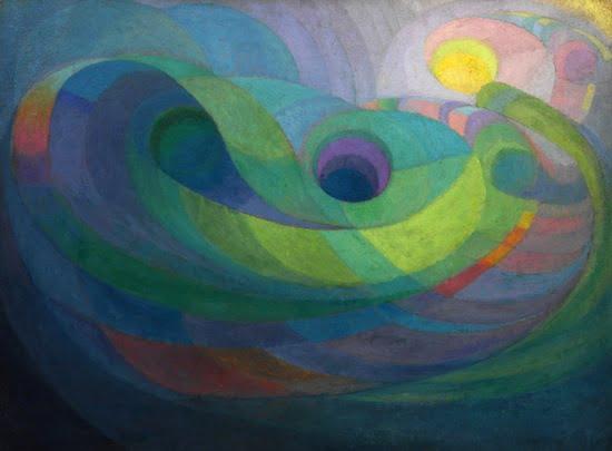 Roy de Maistre, Rhythmic composition in yellow green minor (1919). Oil on paperboard, 85.3 x 115.3 cm. Art Gallery of New South Wales© Caroline de Mestre Walker.