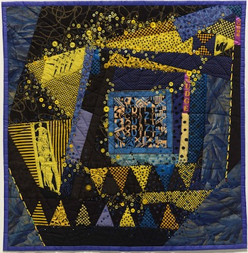 Ruth Stoneley (Australia 1940–2007), A woman's work is never done 1996. Plain and printed cottons, hand-quilted, embellished with beads, buttons, glitter, ribbons, sequins. Stoneley Family Collection