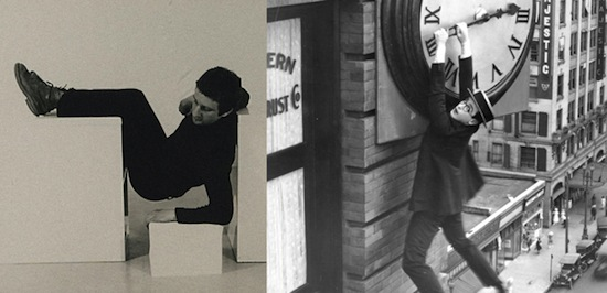 Left: Bruce McLean, Pose Work for Plinths I (detail), 1971. Twelve photographs, black and white, on board, 746 × 686 mm. © Tate, London 2013. Right: Safety Last, 1923, USA. Director: Fred C. Newmeyer, Sam Taylor. Producer: Hal Roach. © Harold Lloyd Entertainment.