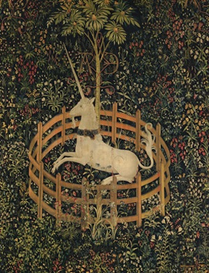 The Unicorn in Captivity, South Netherlandish, ca. 1495–1505. Wool, silk, and silver and gilded-silver wrapped thread, 12 ft. 1 in. x 99 in.The Metropolitan Museum of Art, Gift of John D. Rockefeller Jr., 1937 (37.80.6) Image: © The Metropolitan Museum of Art, New York.