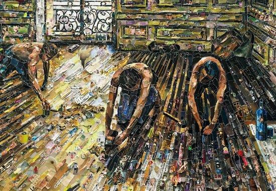 Vik Muniz (American, born Brazil, 1961), Floor Scrapers, after Gustave Caillebotte, from the Pictures of Magazine 2 series, 2011. Artist Proof 4/4. Digital C print, 71 x 102 1/2 in. Image courtesy of Vik Muniz Studio. © Vik Muniz/ Licensed by VAGA, New York, NY.