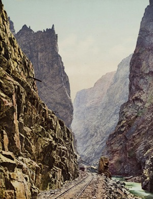 William Henry Jackson, Colorado Grand Canyon of the Arkansas, 1898. Photochrom. Santa Barbara Museum of Art, Museum purchase.