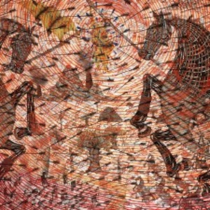 Andrew Schoultz, Mayhem, 2007, acrylic, ink and collage on paper, collection of the Frederick R. Weisman Foundation, Los Angeles, CA