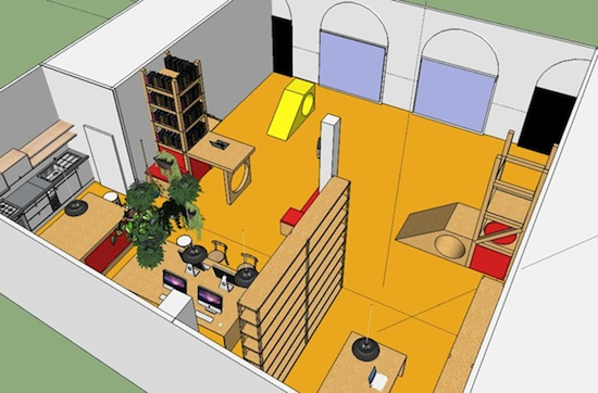 Casco office design sketch by Nils Norman, 2013.