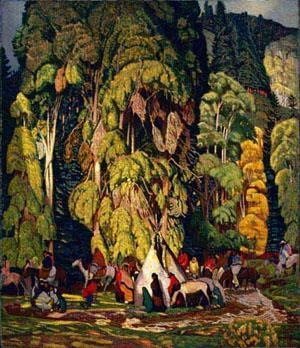 Ernest L. Blumenschein, Landscape with Indian Camp, 1920, reworked 1929. The Roath Collection.