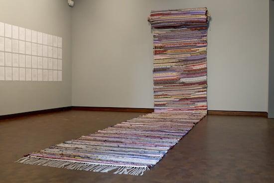 Fotini Gouseti, Kalavryta 2012, 2013. 2,000 silk neck-ties, 1.50 x 25.30 m. Photo Frazer Steward.