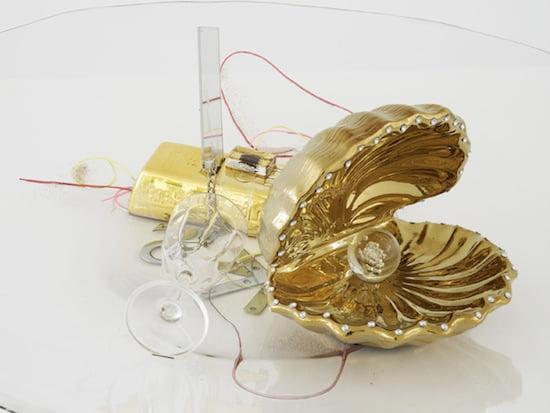 Jutta Koether, Luise (detail), 2013. Polyethylene, clear resin, mixed materials, 20 x 90 x 90 cm. Courtesy of Campoli Presti.