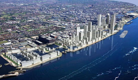 Artist's impression showing the masterplan evolution of Liverpool Waters. © The Peel Group.